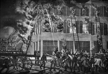 Pompiers devant l'incendie de la Maison LaLaurie