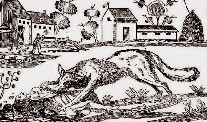 Loup-garou dévorant sa victime