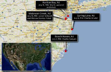 Cartes des attaques de requins