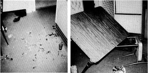 Bris de vase et meubles renversés maison Donovan