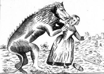 Loup-garou attaquant une femme