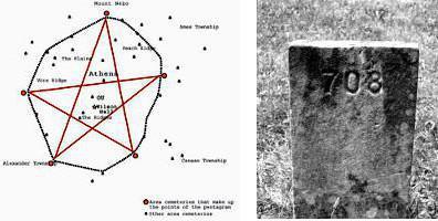 Pentagramme et tombe numérotée de The Ridges
