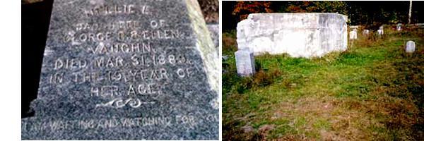 La tombe de Nellie Vaugh et son emplacement vide