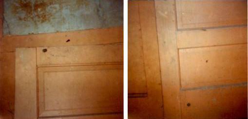 Impact des balles tirées sur la porte de la cuisine