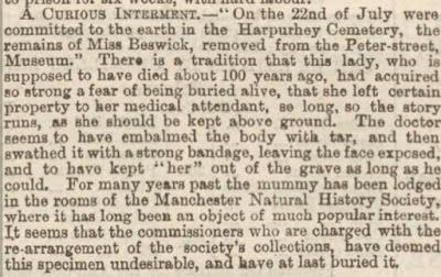 Annonce de l'enterrement d'Hannah Beswick