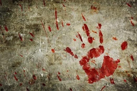 Trace Sanglante de Main sur un Mur